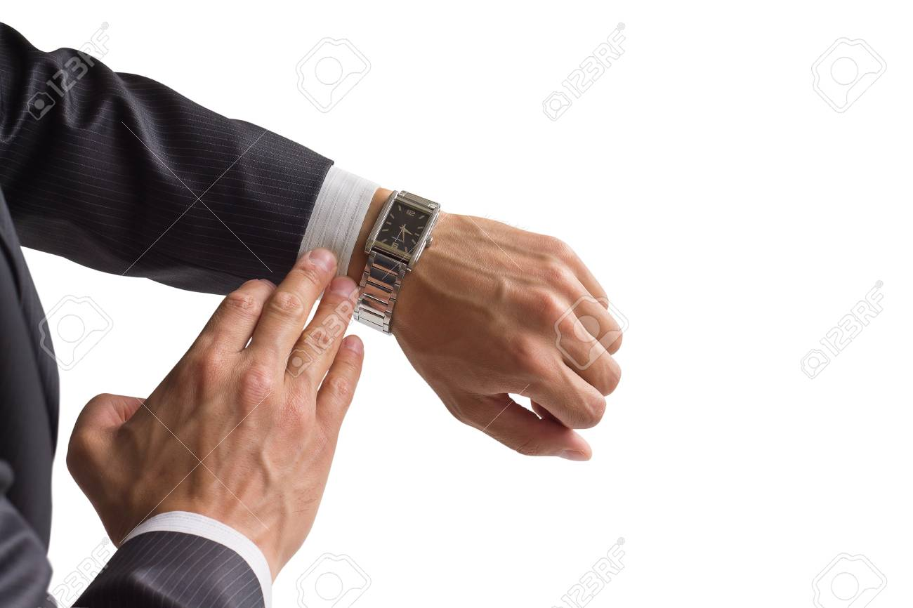 Businessman looks at his watch Stock Photo - 14215297