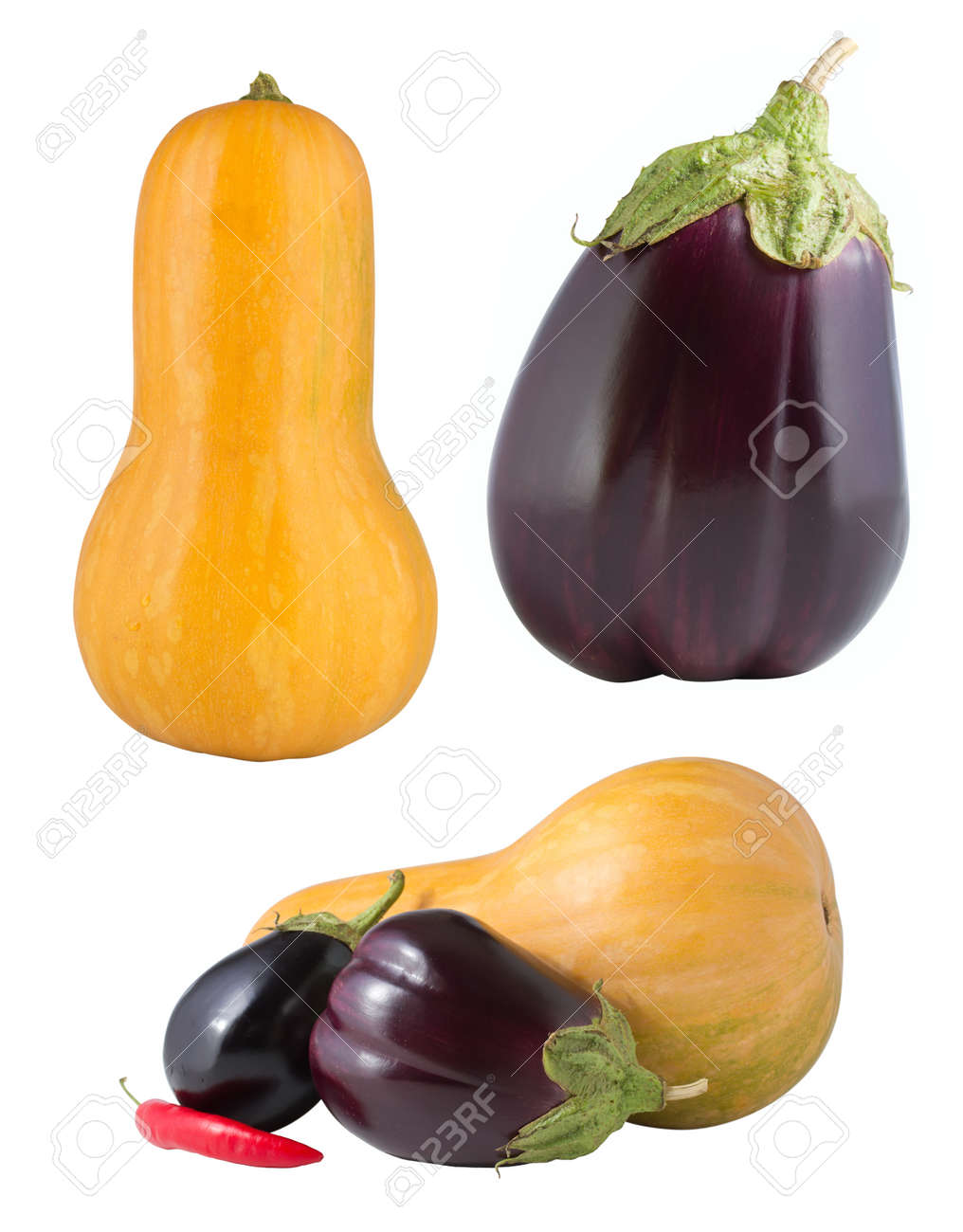 Set of vegetables isolated on white Stock Photo - 15255322