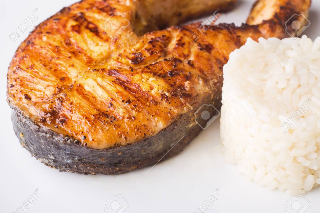Close Up Image Of Grilled Salmon Steak With Rice Healthy Seafood