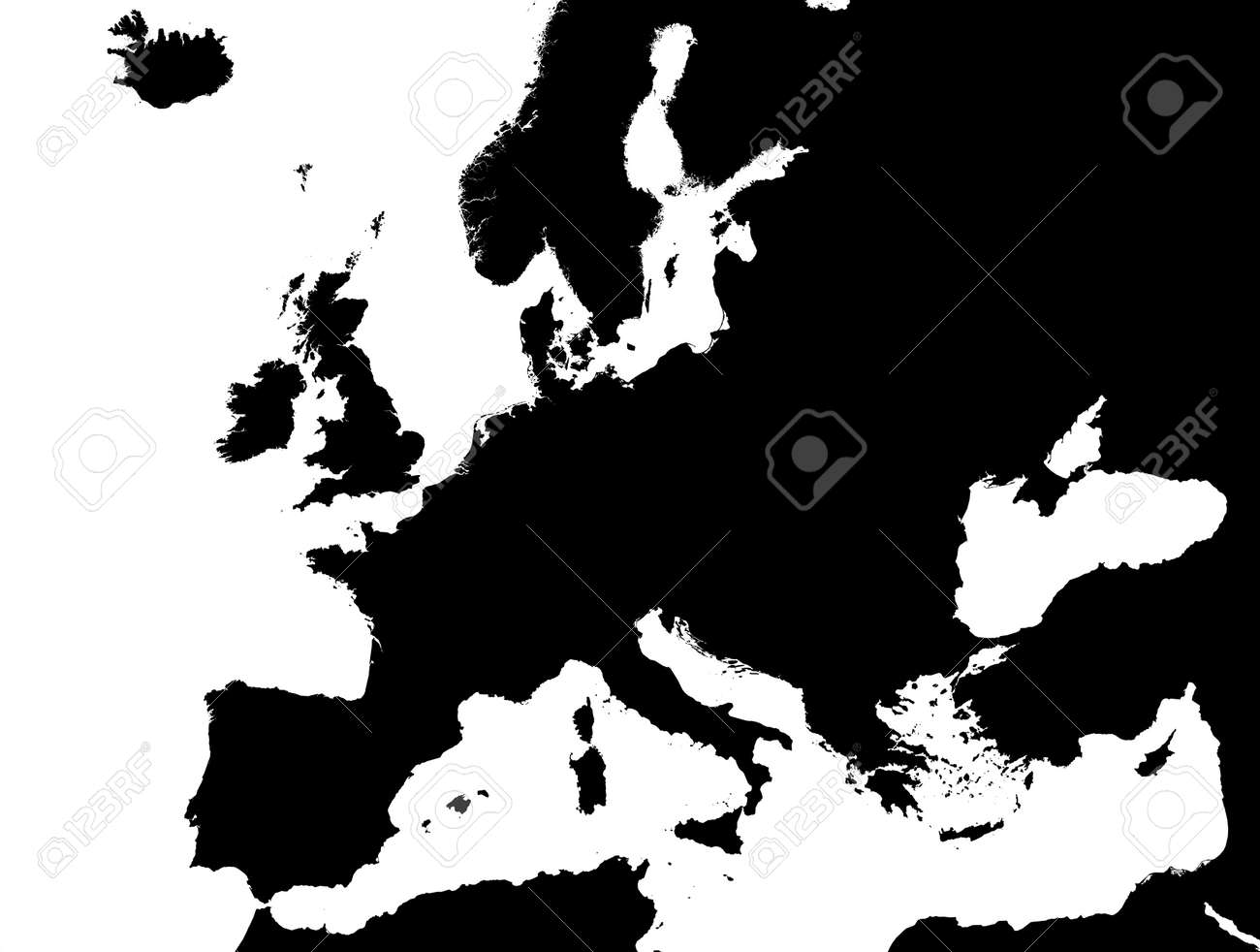 Black Map Of Europe.Detailed Black And White Map Of Europe Lambert Projection Stock
