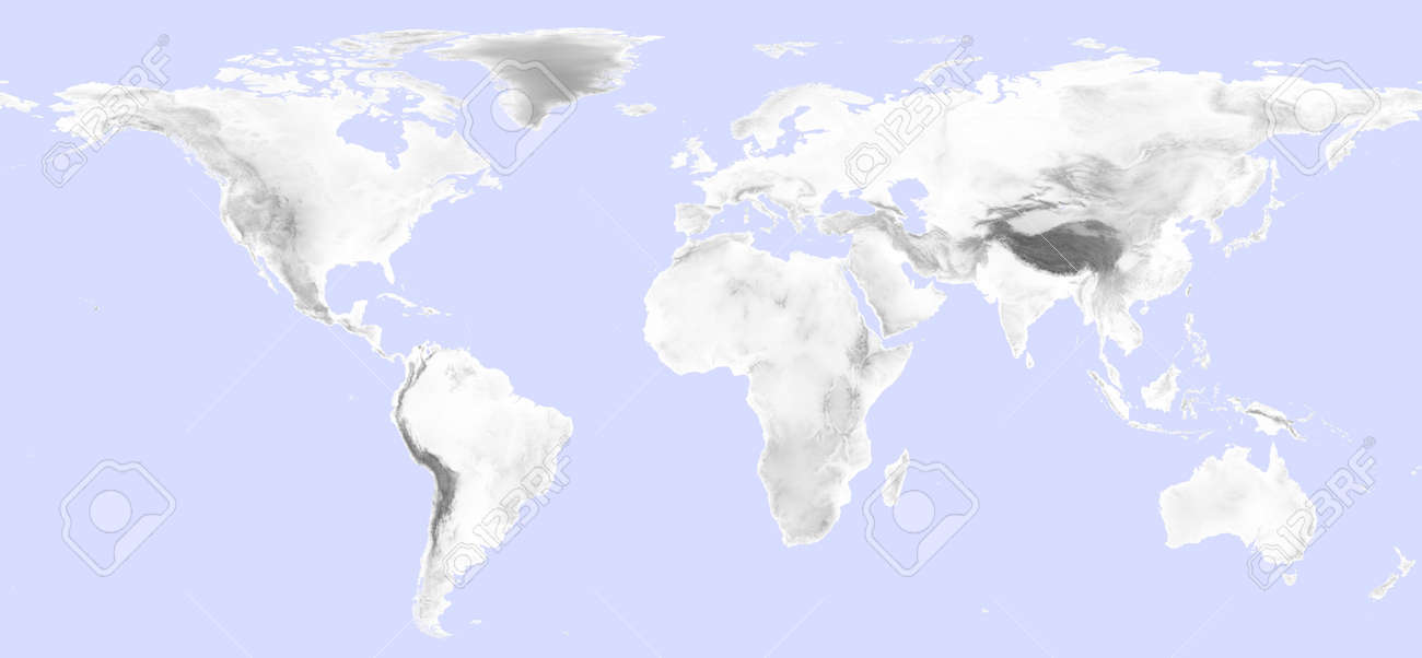 World map with grayscale elevation and light blue sea stock photo stock photo world map with grayscale elevation and light blue sea gumiabroncs Gallery