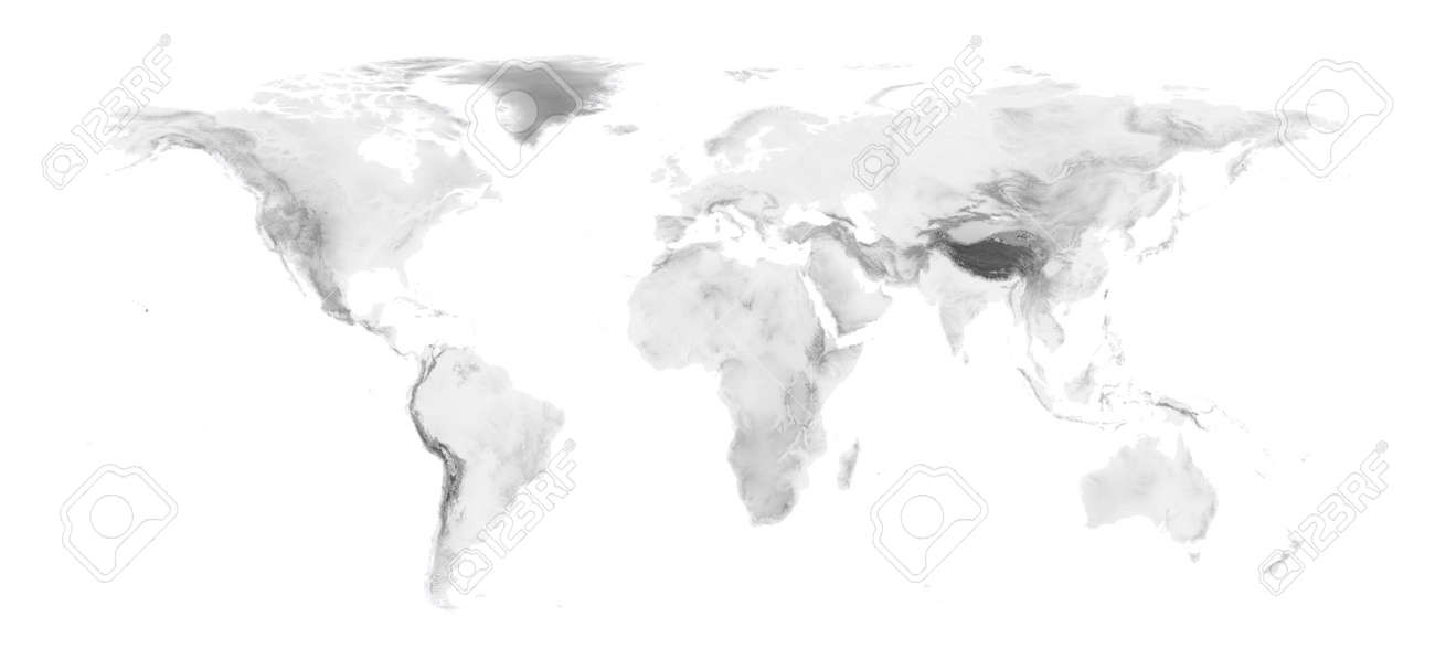World map with grayscale elevation on white background easy stock stock photo world map with grayscale elevation on white background easy to change background and elevation color gumiabroncs Image collections