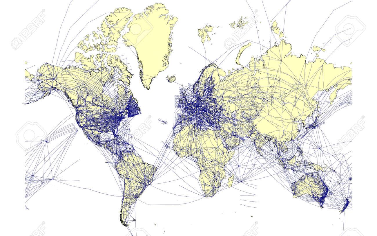 Detallado mapa del mundo con las rutas aéreas  Foto de archivo - 1585663
