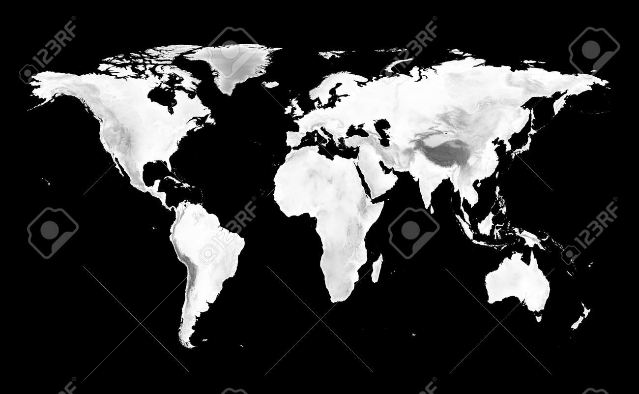 stock photo world map with grayscale elevation on black background