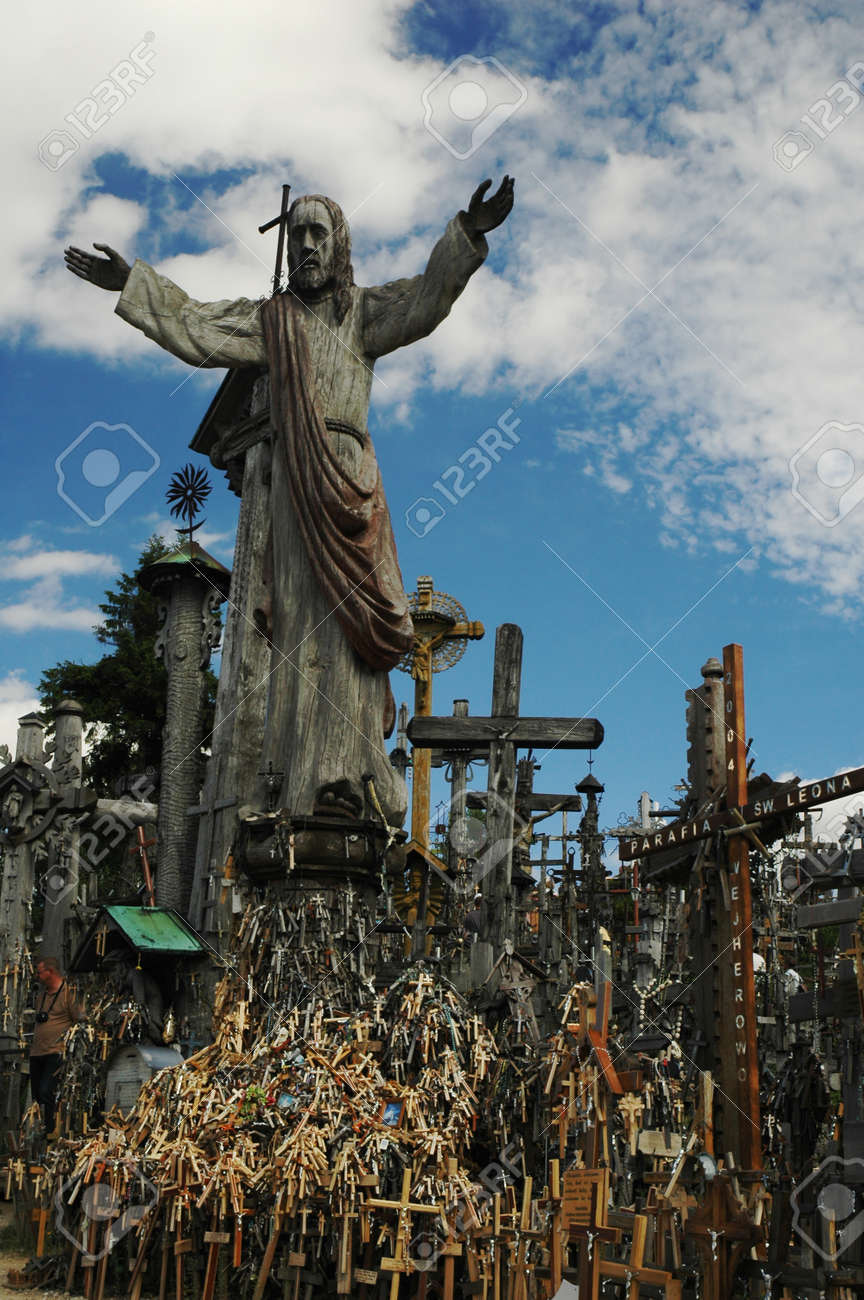 jesus christ statue on hill of crosses lithuania stock photo