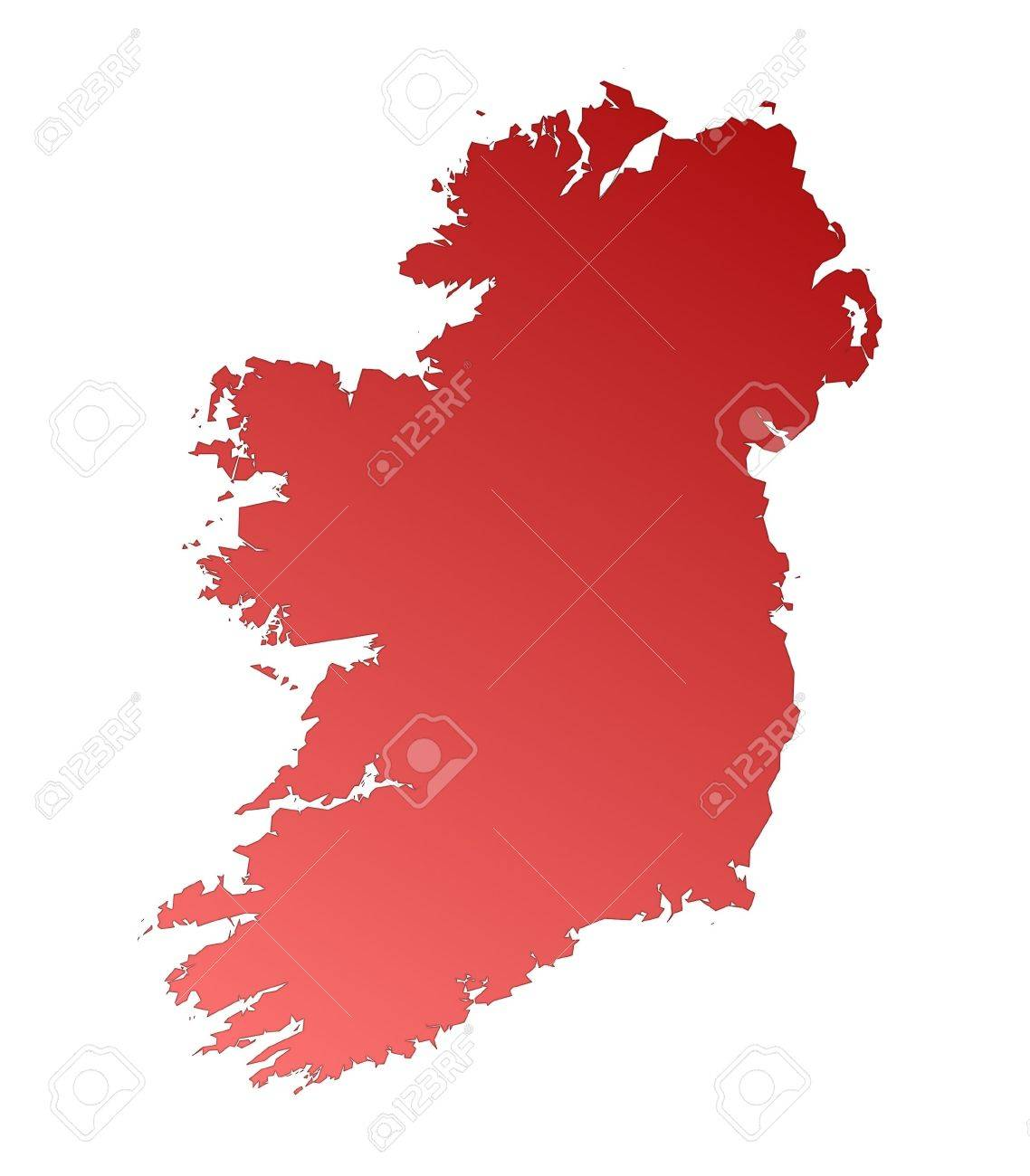 isolated red gradient map of ireland stock photo picture and