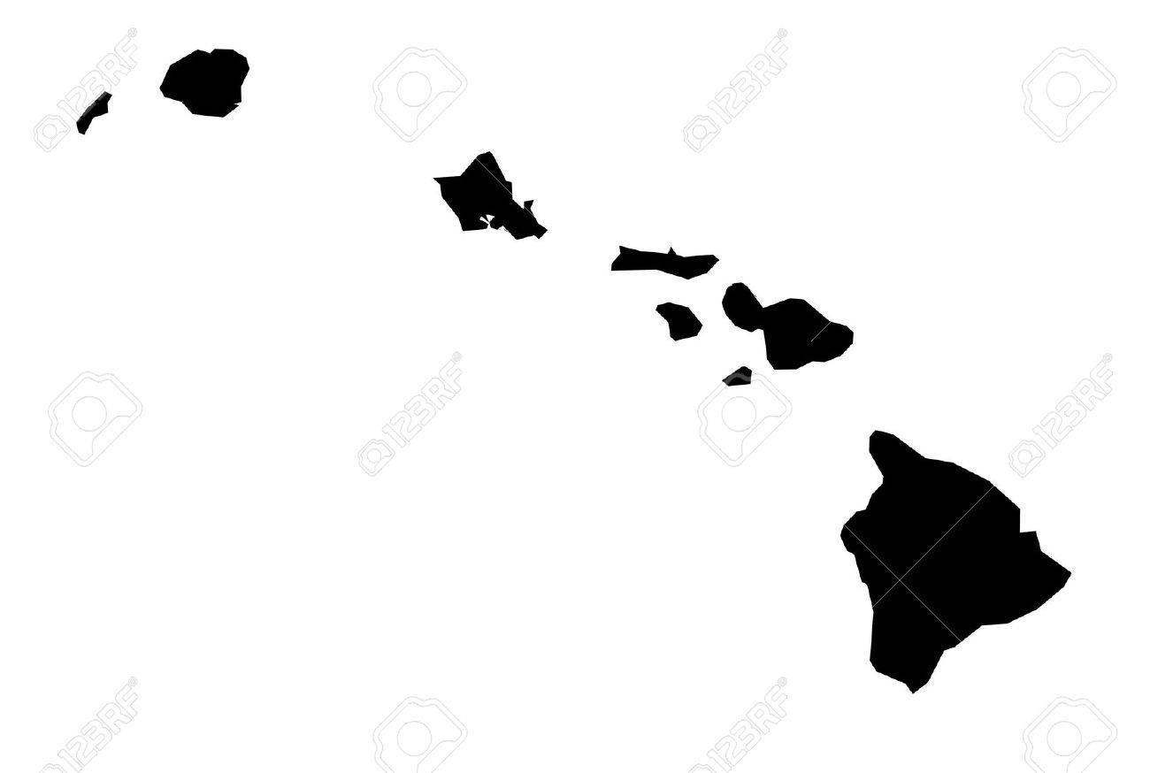 Isolated Black And White Map Of Hawaii Stock Photo Picture And