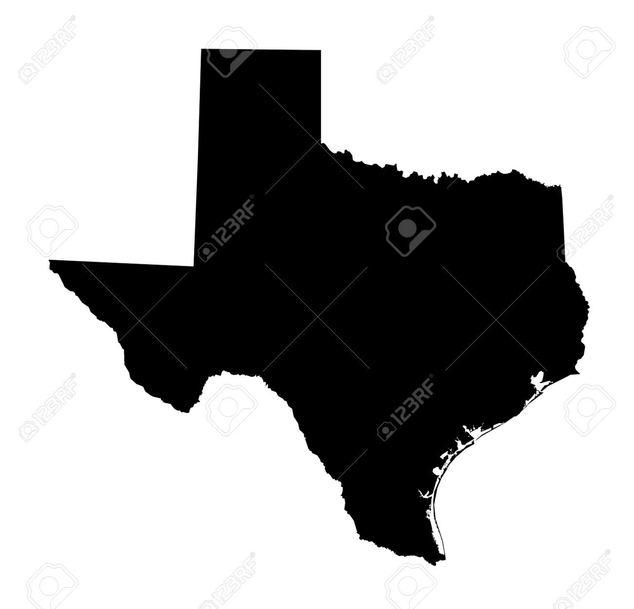 Texas Map Black And White Isolated Black And White Map Of Texas Stock Photo, Picture And