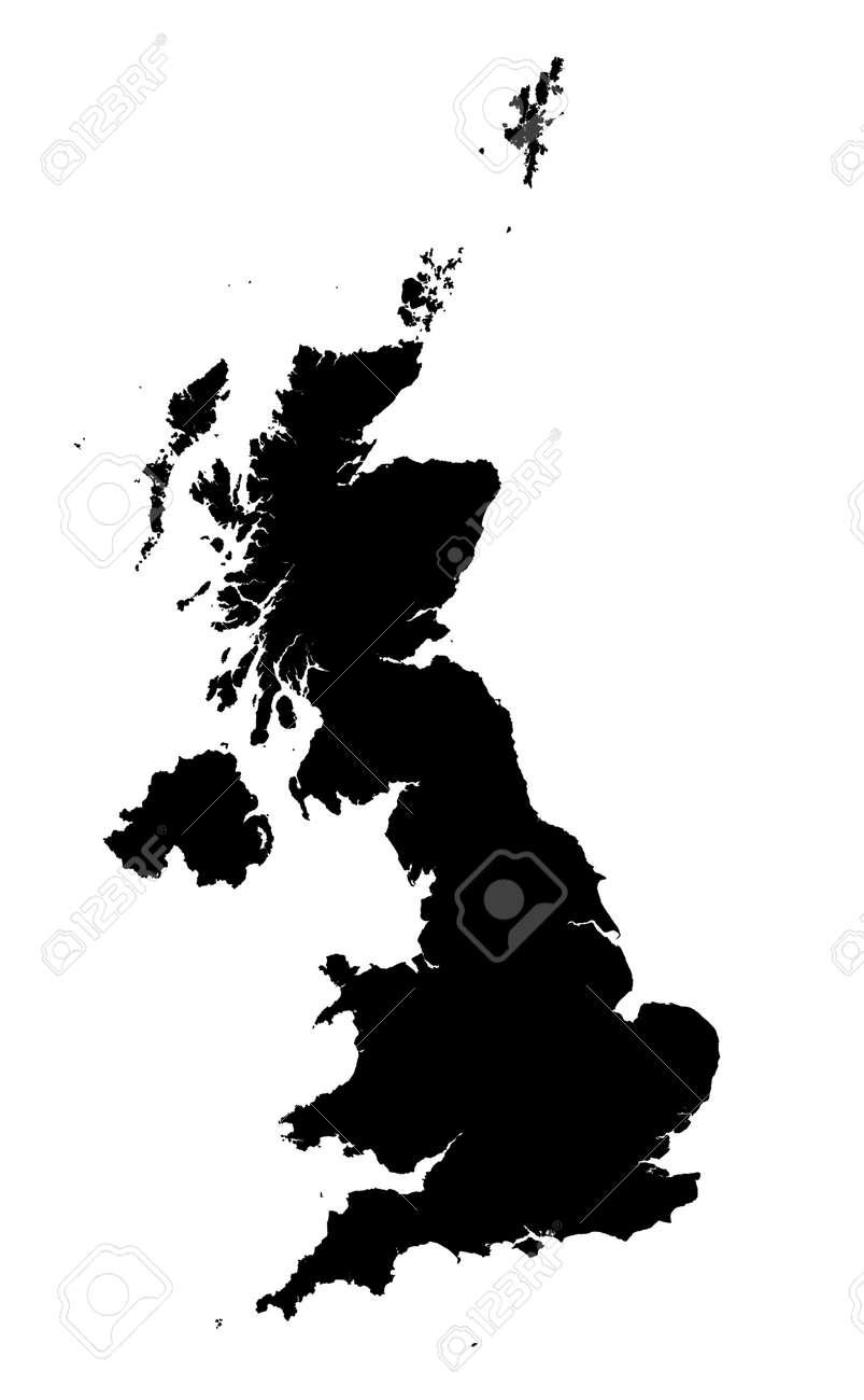Carte Royaume Uni Noir Et Blanc.Carte Detaillee Isoles Du Royaume Uni En Noir Et Blanc Projection Mercator