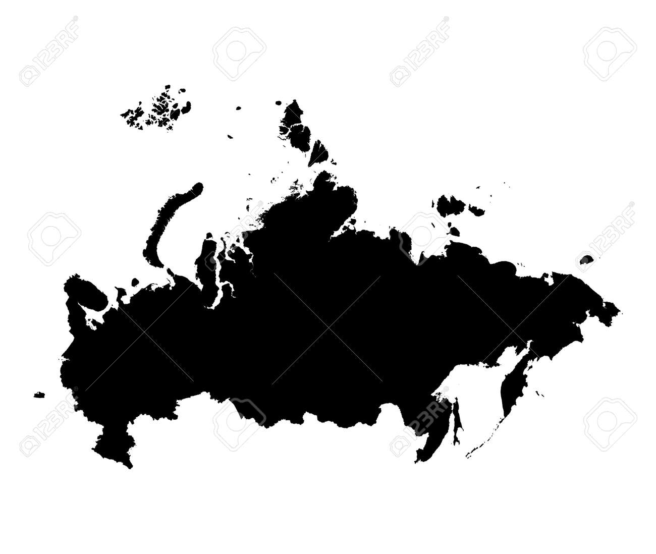 detailed isolated map of russia black and white mercator