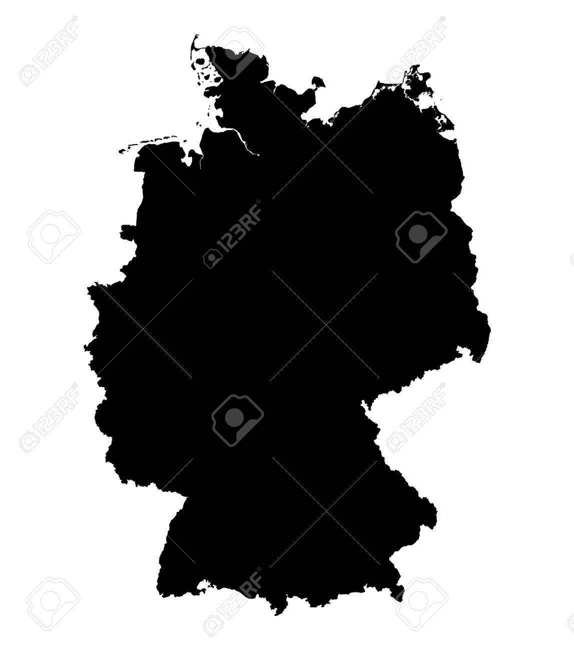 ... map of Germany, black and ...