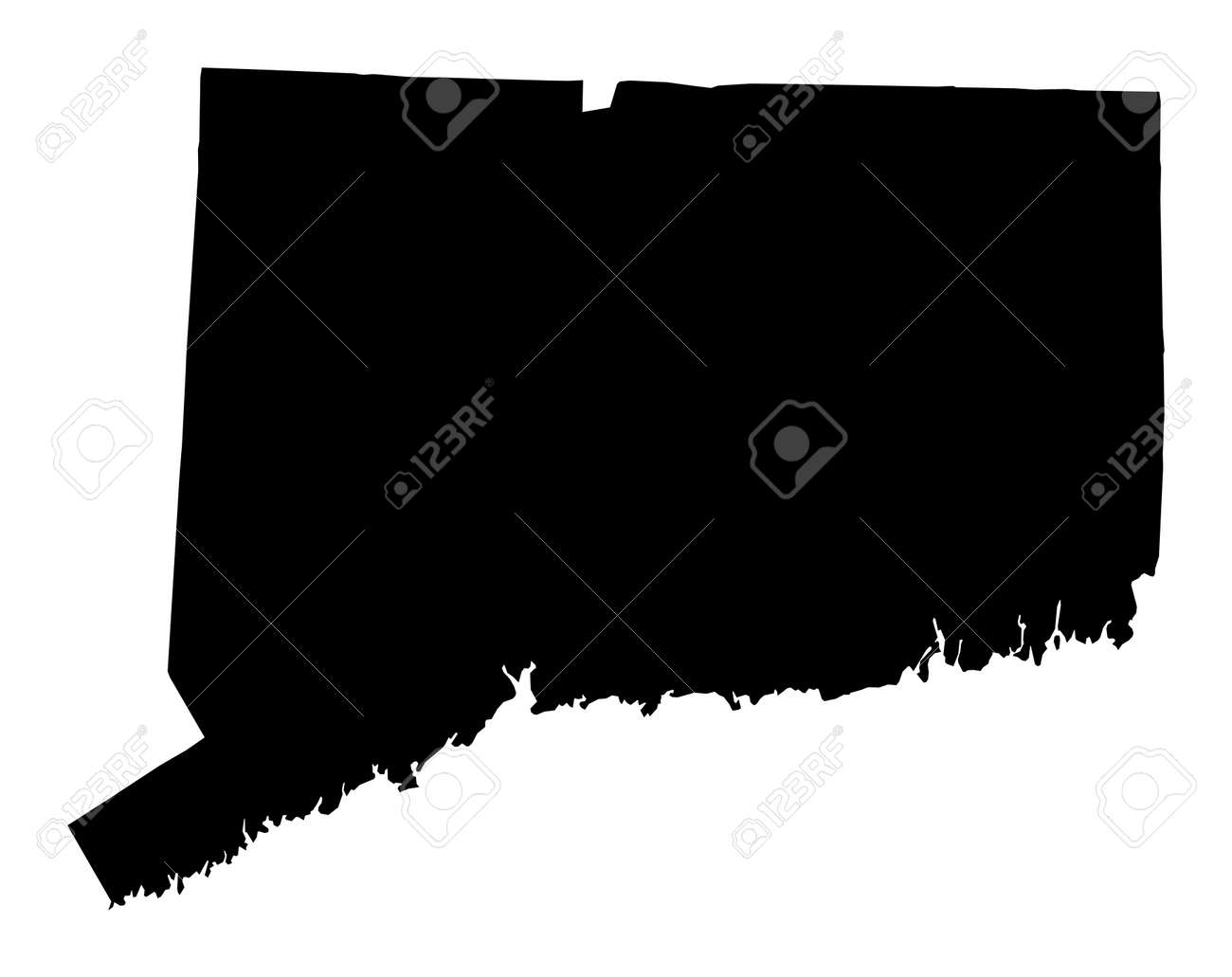 Detailed Isolated Bw Map Of Connecticut USA Mercator Projection - Map usa connecticut