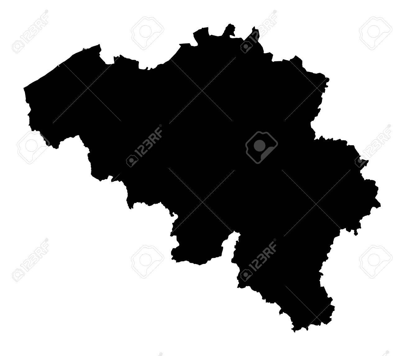 Carte Belgique Noir Et Blanc.Isole Carte Detaillee De La Belgique Noir Et Blanc Projection Mercator