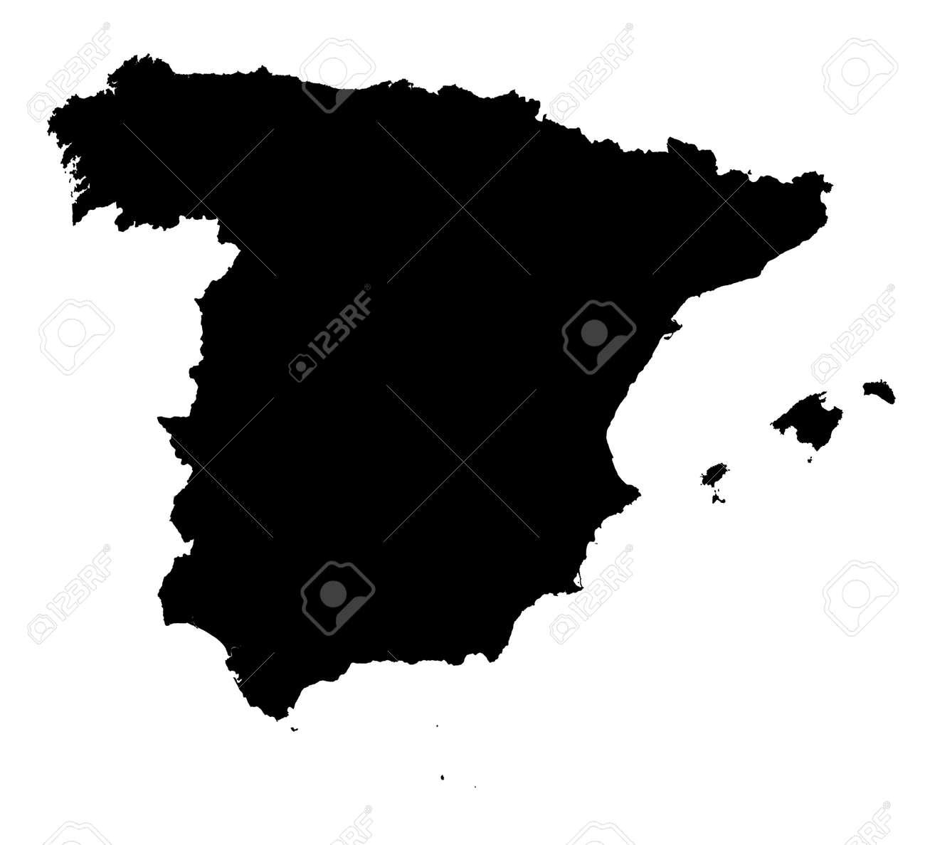 Carte Espagne Noir Et Blanc.Carte Detaillee Isolee De L Espagne Noir Et Blanc Mercator Projection