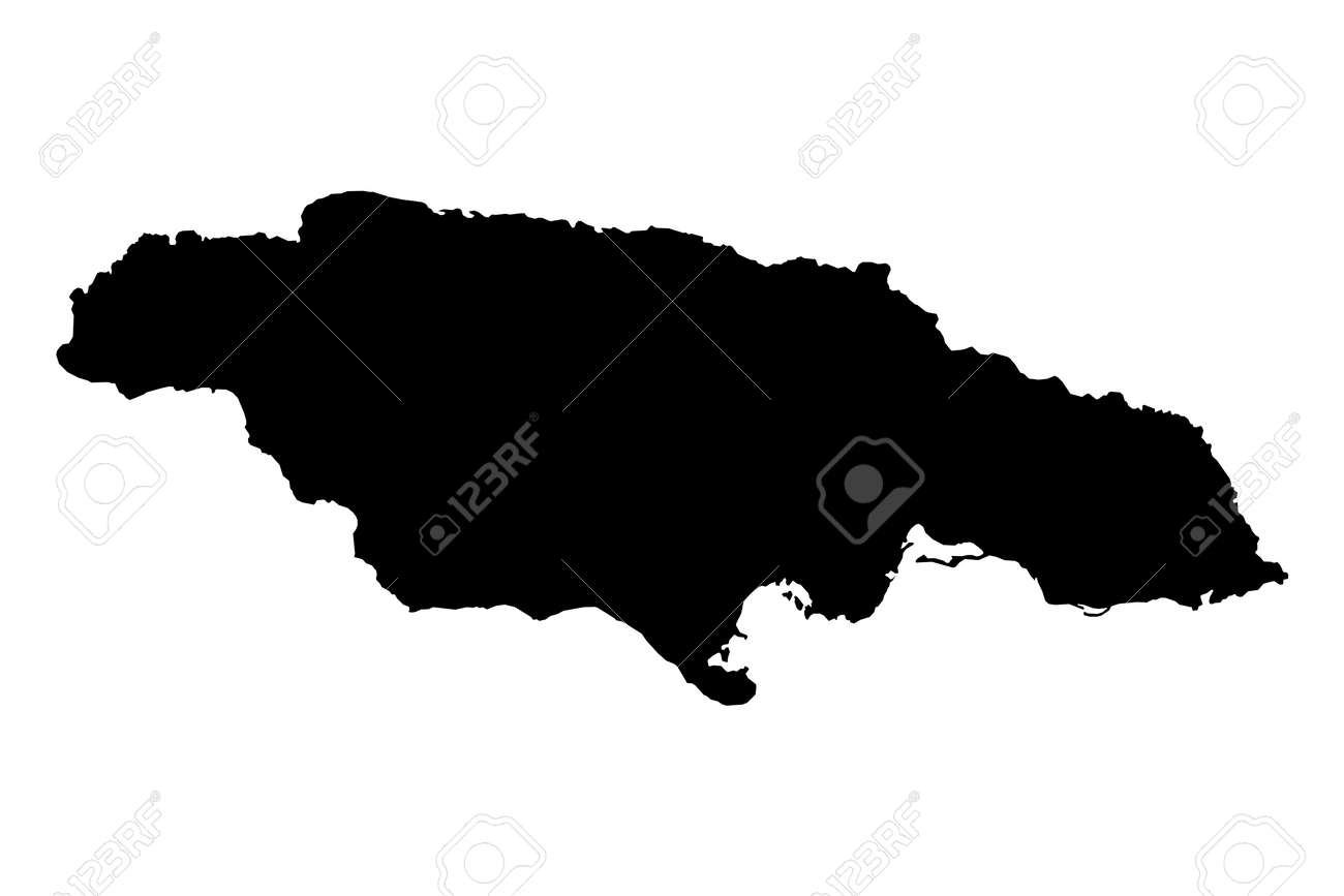 Detailed isolated map of jamaica black and white mercator projection stock photo