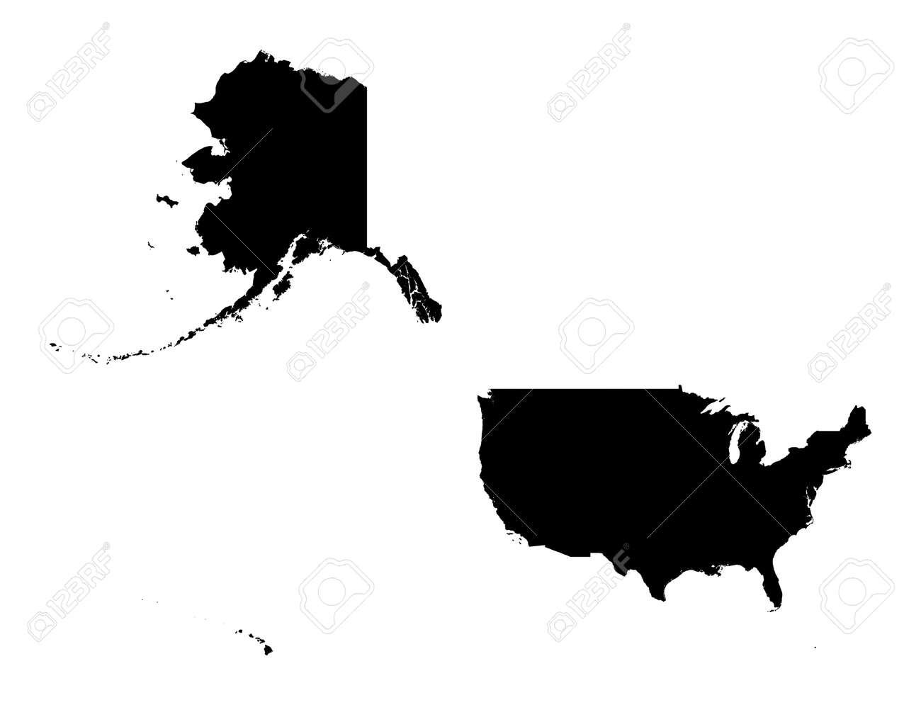 Detailed Isolated Map Of United States Black And White Mercator - Detailed map of us states