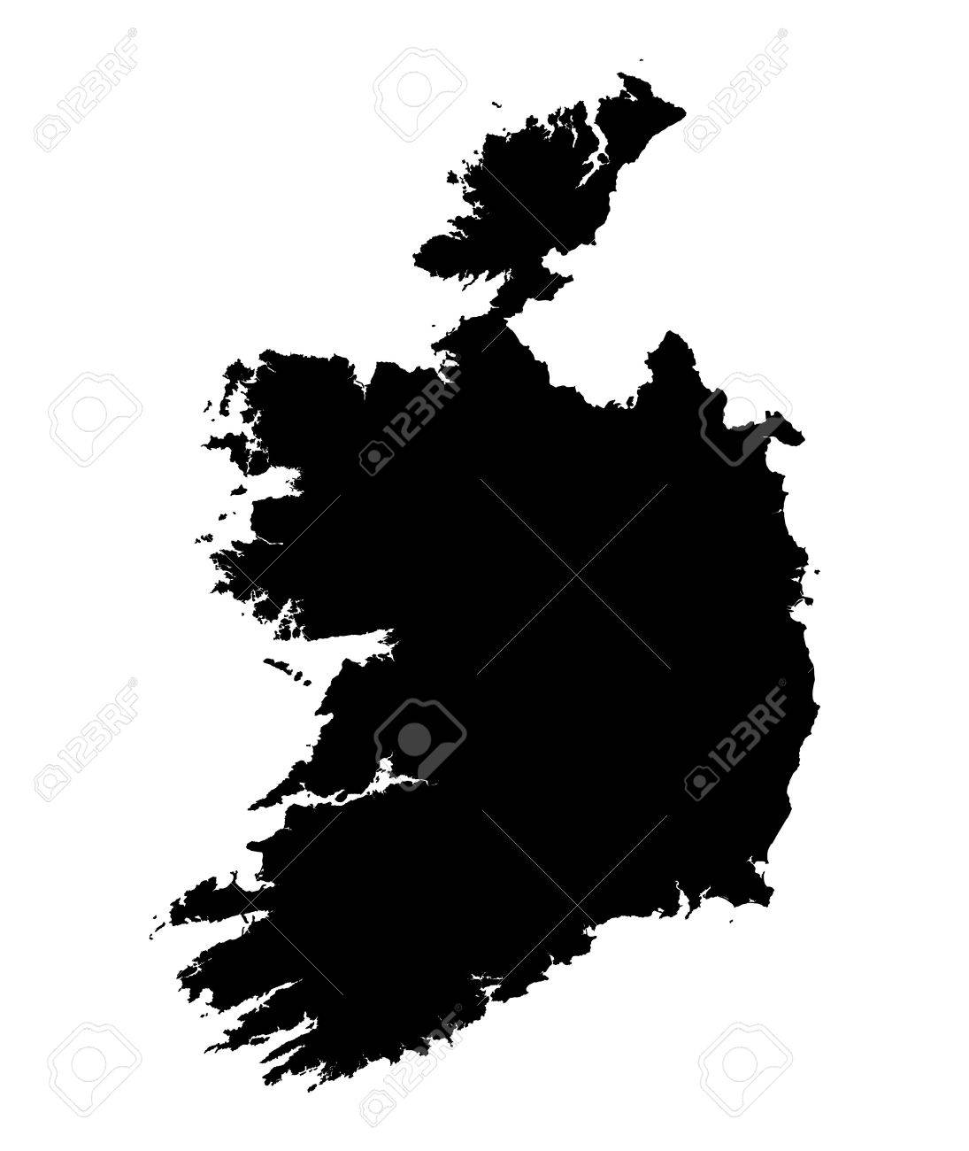Map Of Ireland Black And White.Detailed Isolated Map Of Ireland Black And White Mercator