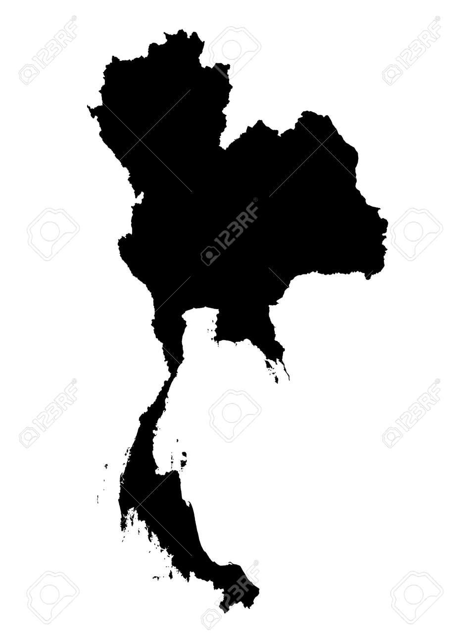 Carte Thailande Noir Et Blanc.Carte Detaillee Isoles De La Thailande Noir Et Blanc Mercator Projection