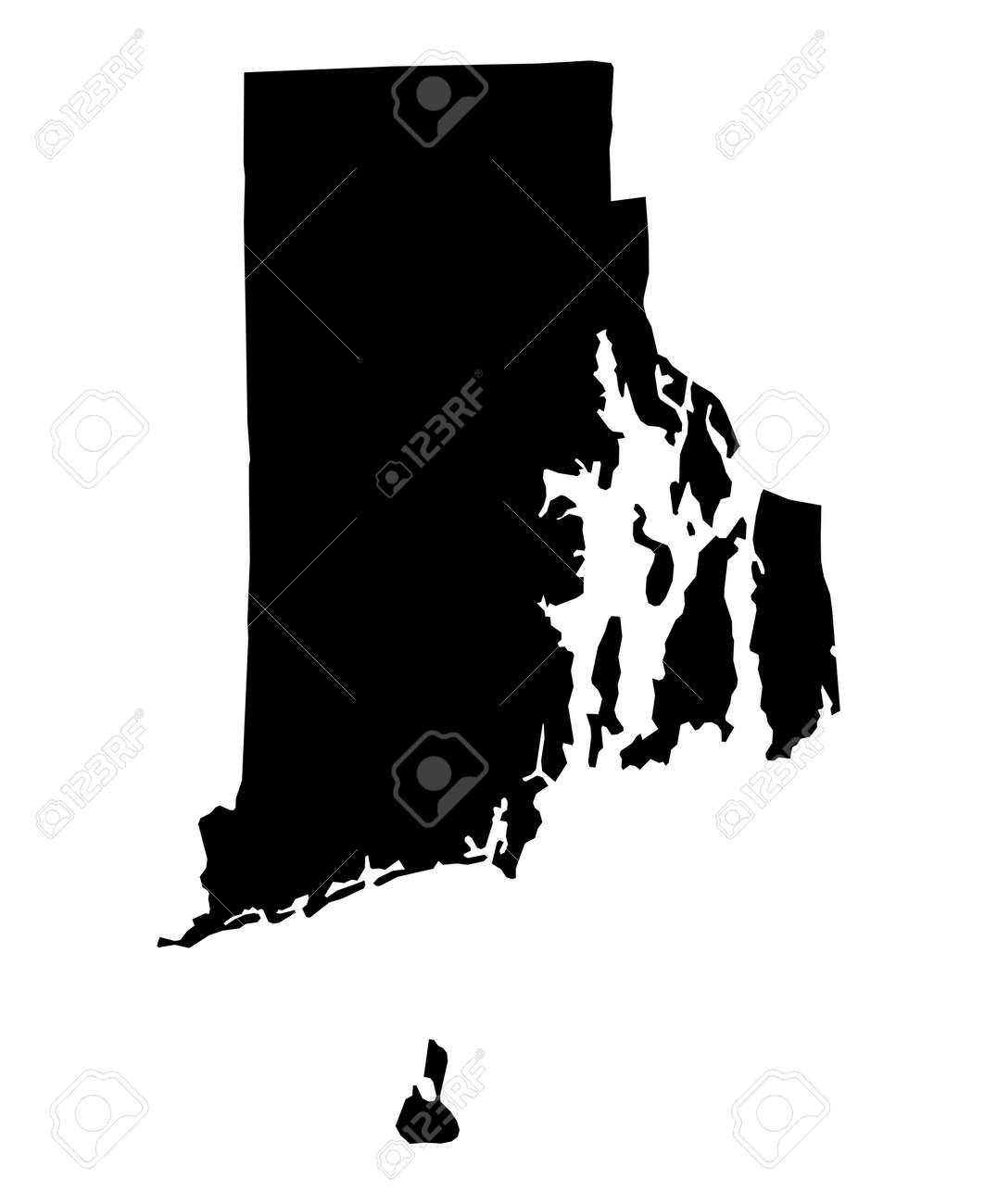Detailed Isolated Bw Map Of Rhode Island Usa Mercator Rhode Island In Usa Map