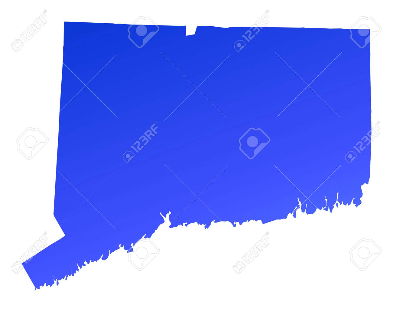 Blue Gradient Connecticut Map USA Detailed Mercator Projection - Map usa connecticut