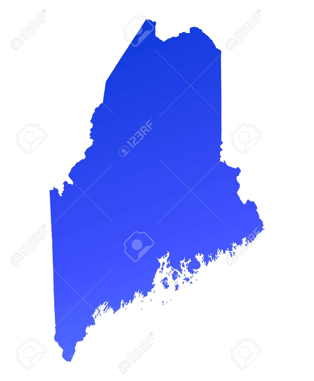 Blue Gradient Maine Map USA Detailed Mercator Projection Stock - Maine on map of usa