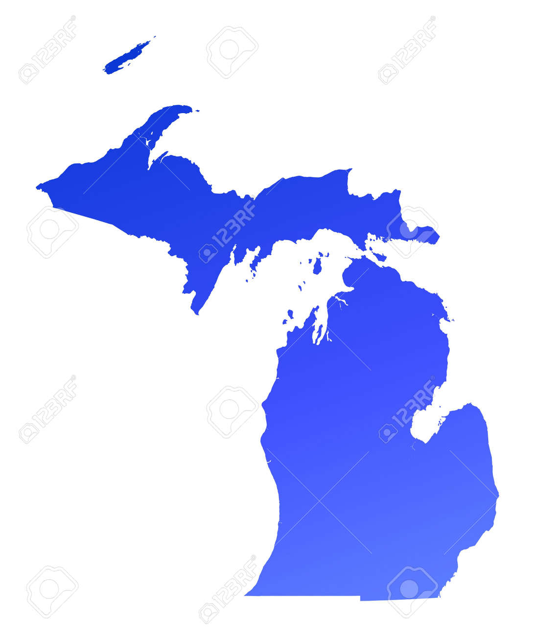 Detailed Michigan Map.Blue Gradient Michigan Map Usa Detailed Mercator Projection