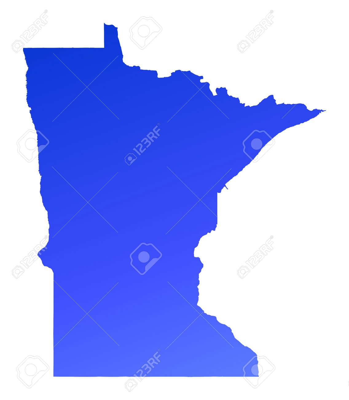 Blue gradient Minnesota map, USA. Detailed, Mercator projection.