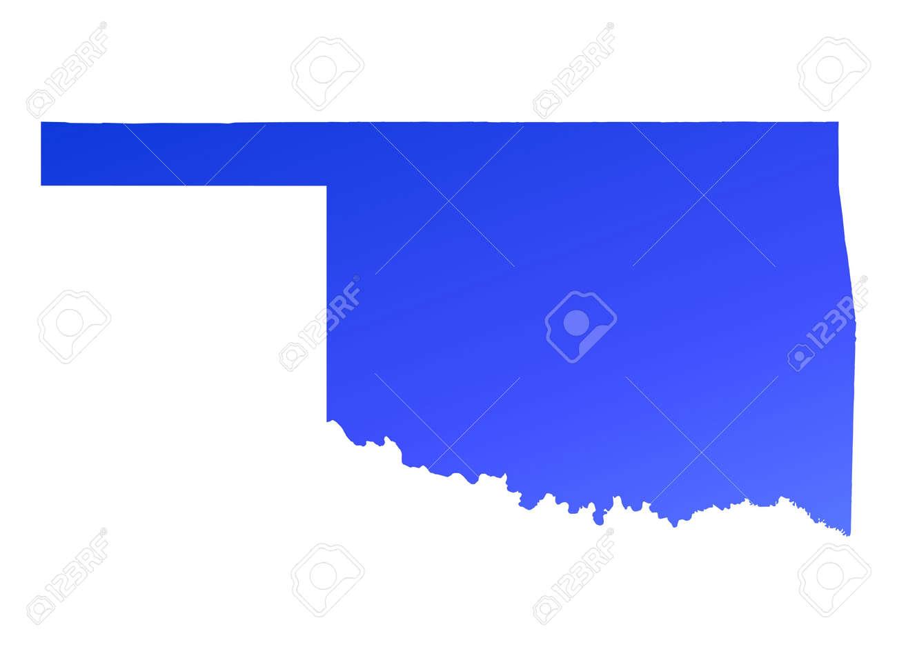 blue gradient oklahoma map usa detailed mercator projection stock photo 2119109