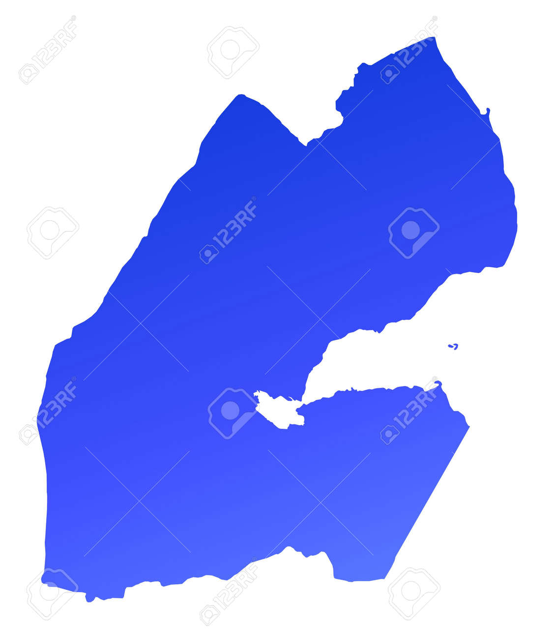 Blue Gradient Djibouti Map. Detailed, Mercator Projection. Stock ...
