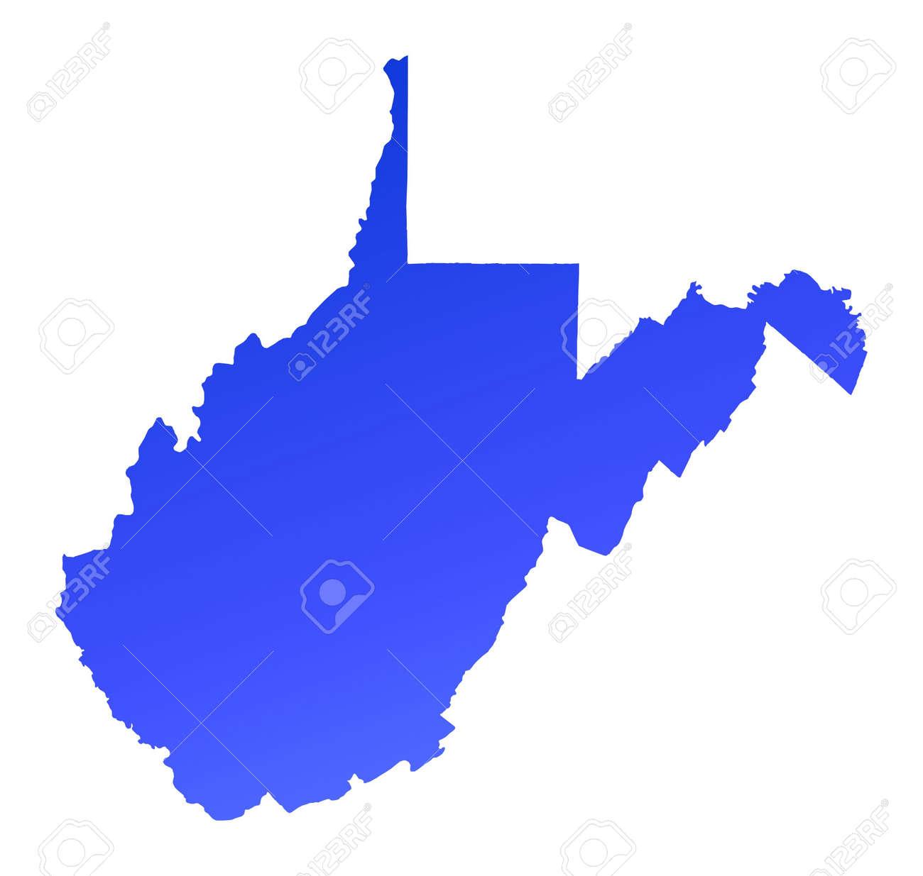 Blue Gradient West Virginia Map USA Detailed Mercator - Map of usa virginia