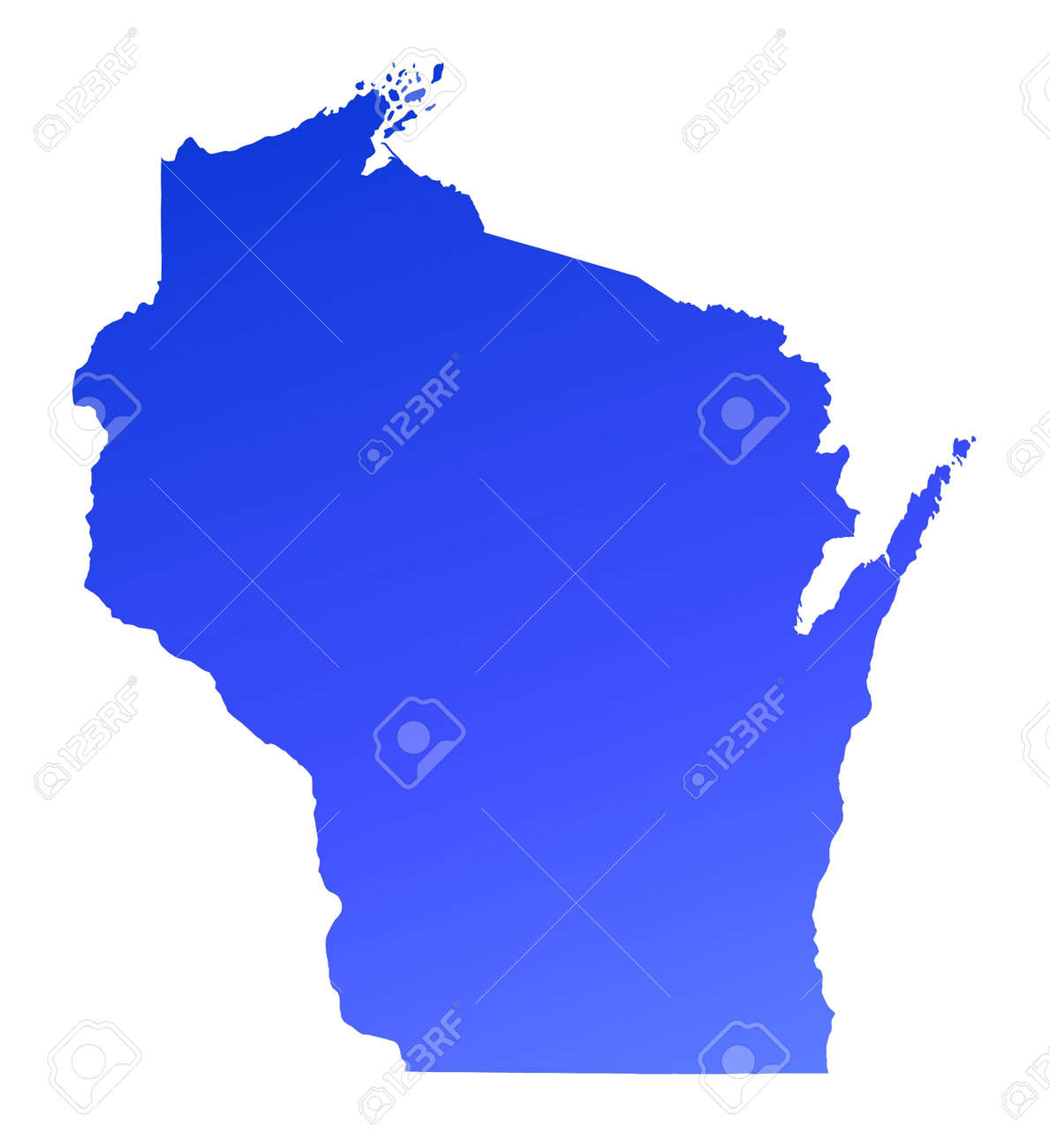 Blue Gradient Wisconsin Map USA Detailed Mercator Projection - Wisconsin on map of usa