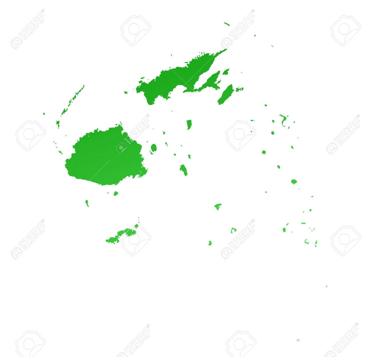 Green Gradient Fiji Map. Detailed, Mercator Projection. Stock Photo ...