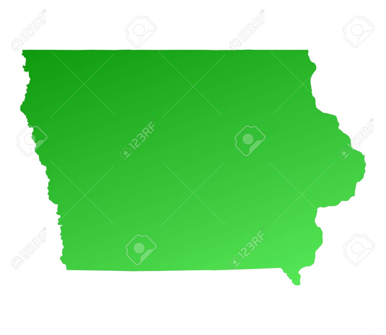 Green Gradient Iowa Map Usa Detailed Mercator Projection Stock