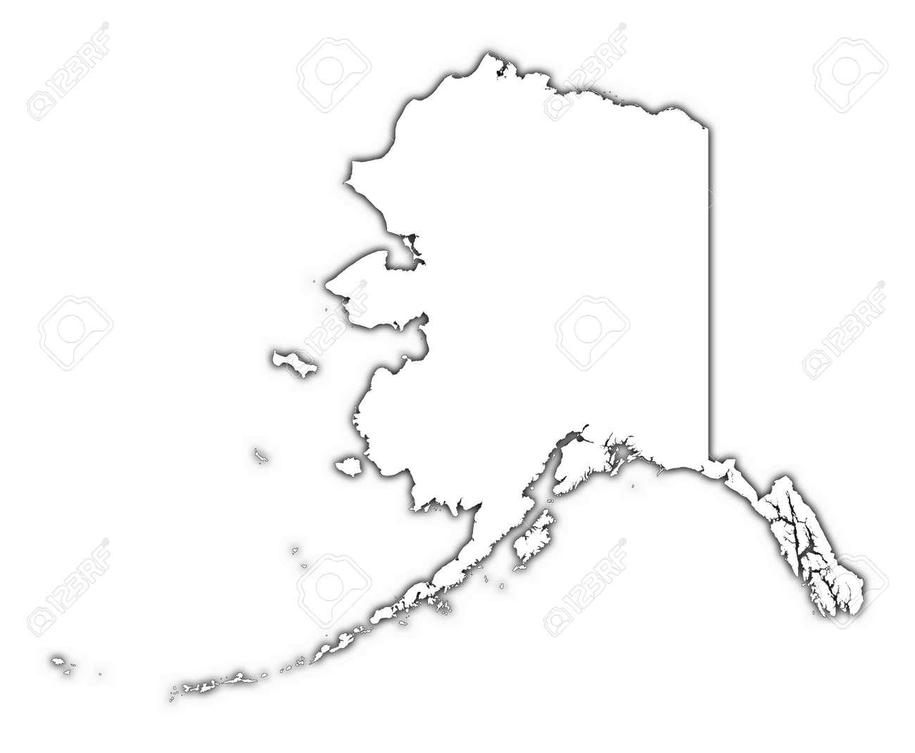 Alaska USA Outline Map With Shadow Detailed Mercator - Usa outline