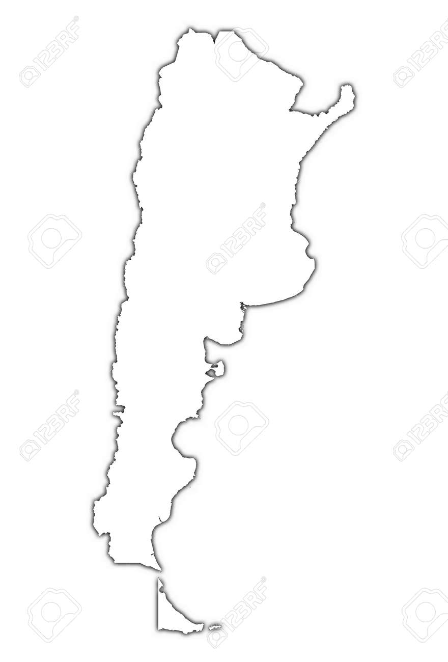 Argentina Outline Map With Shadow Detailed Mercator Projection - Argentina map outline