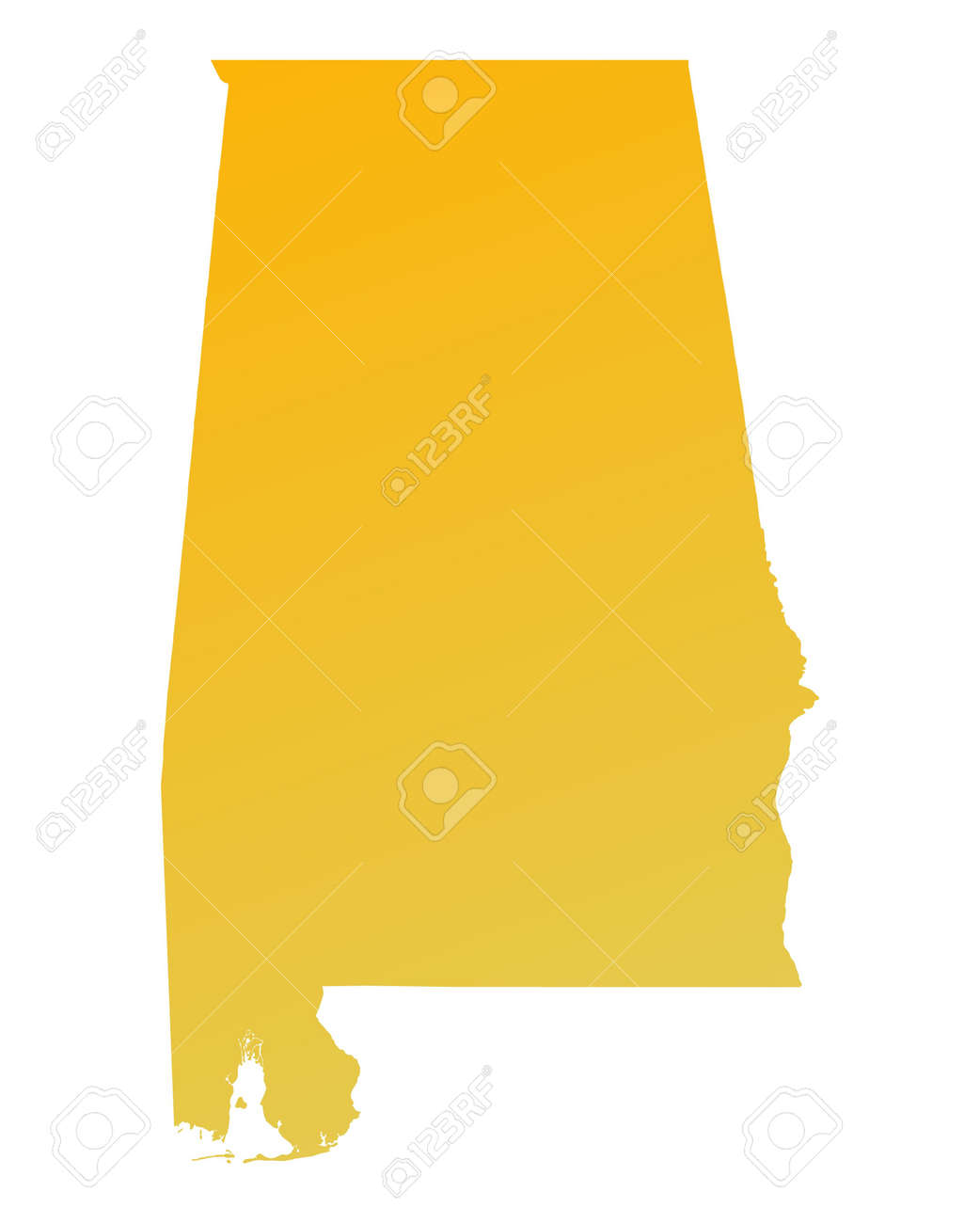 Orange Gradient Alabama Map USA Detailed Mercator Projection - Map usa alabama