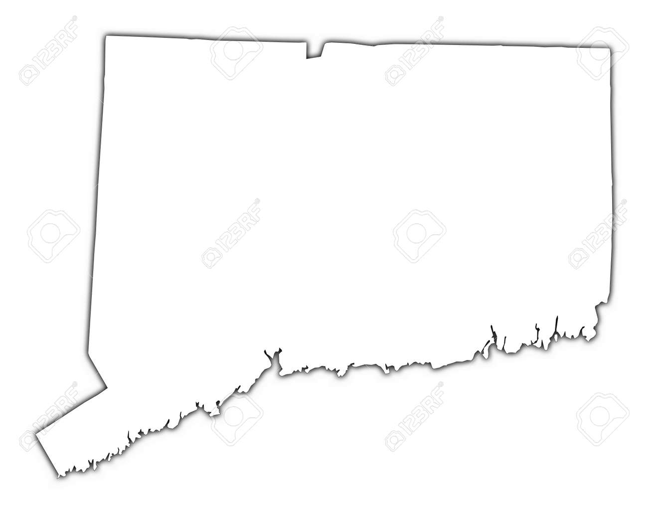 ConnecticutUSA Outline Map With Shadow Detailed Mercator - Connecticut map usa