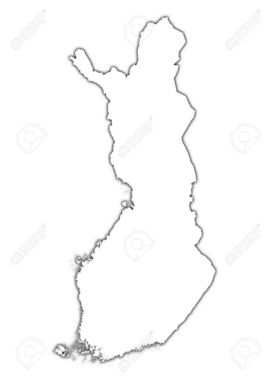 Finland outline map with shadow. Detailed, Mercator projection.