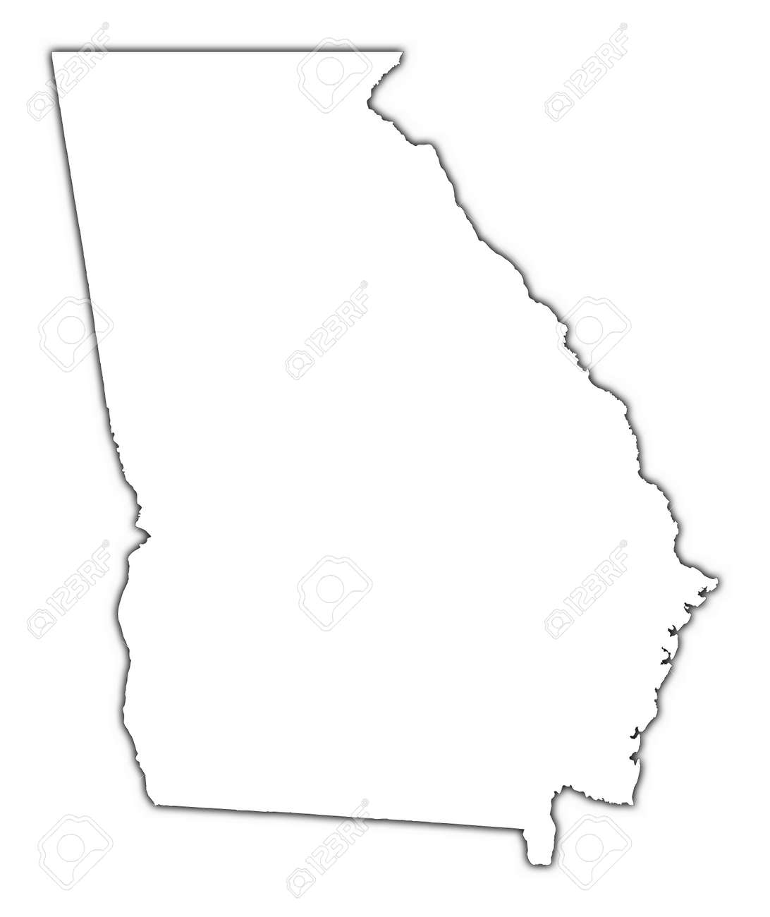 Georgia Outline Map Georgia (USA) Outline Map With Shadow. Detailed, Mercator