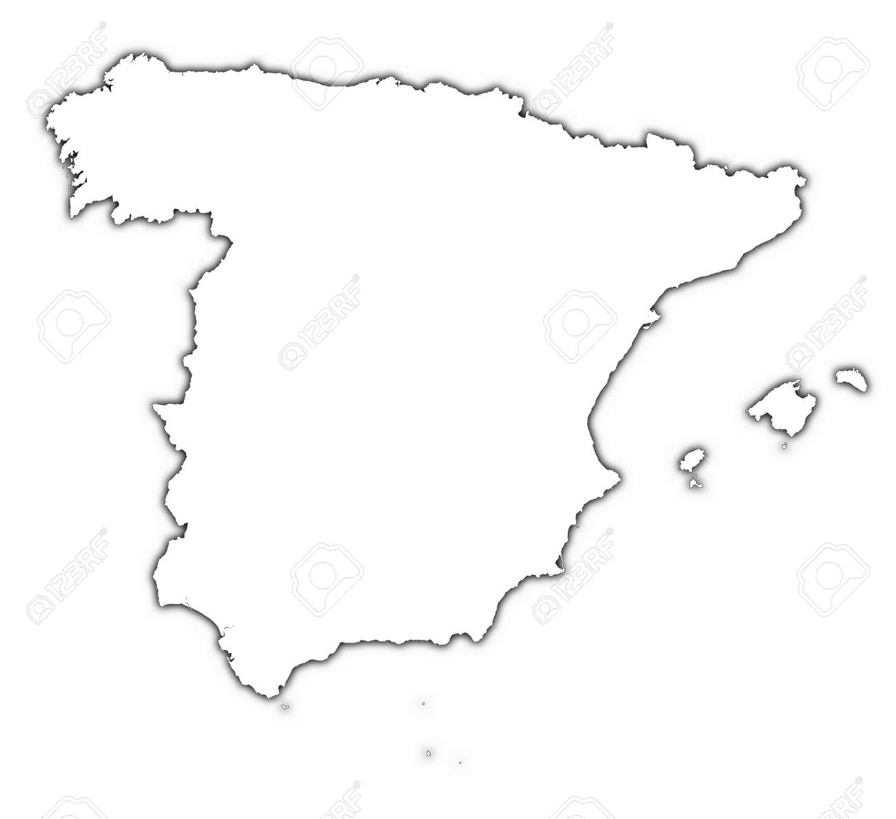 Carte Espagne Muette.Espagne Carte Muette De L Ombre Detaillee Projection De Mercator
