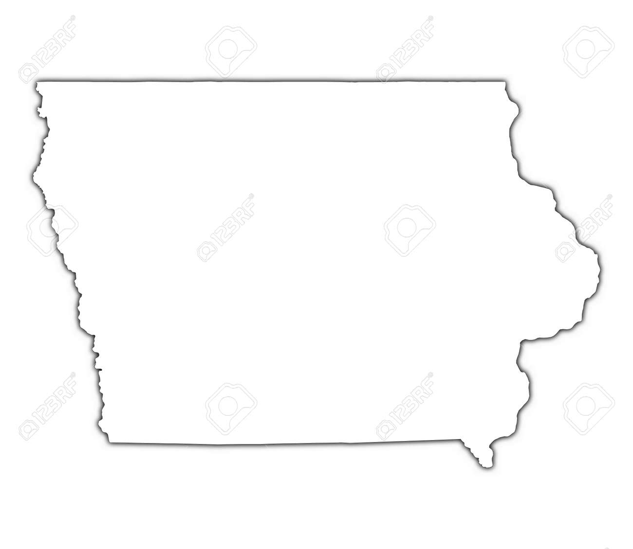 Iowa USA Outline Map With Shadow Detailed Mercator Projection - Iowa usa map