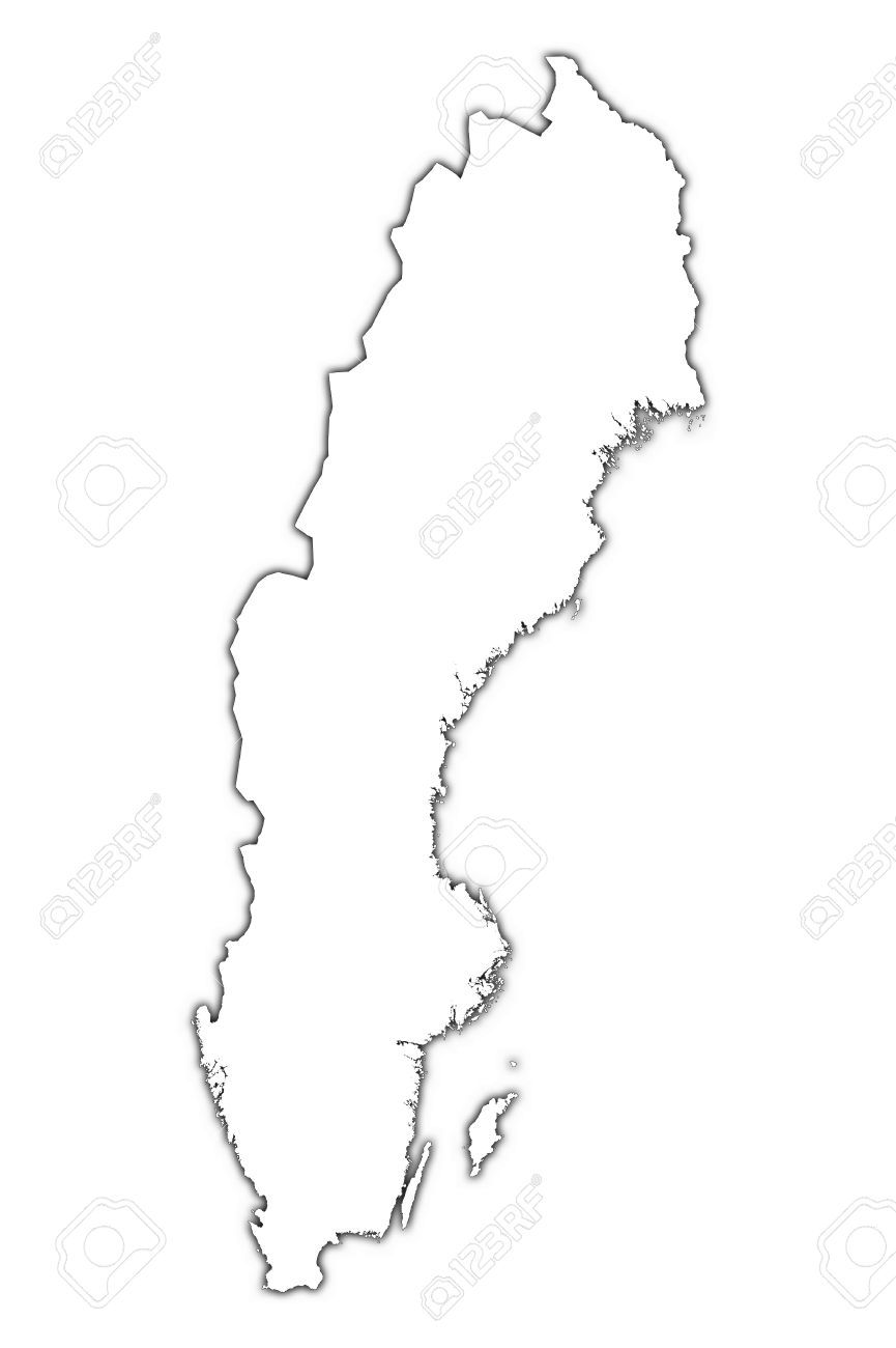 Sweden Outline Map With Shadow Detailed Mercator Projection - Sweden map outline