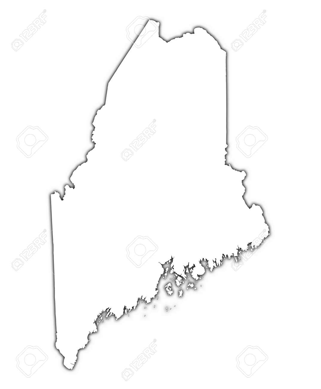 Maine USA Outline Map With Shadow Detailed Mercator Projection - Map of maine usa