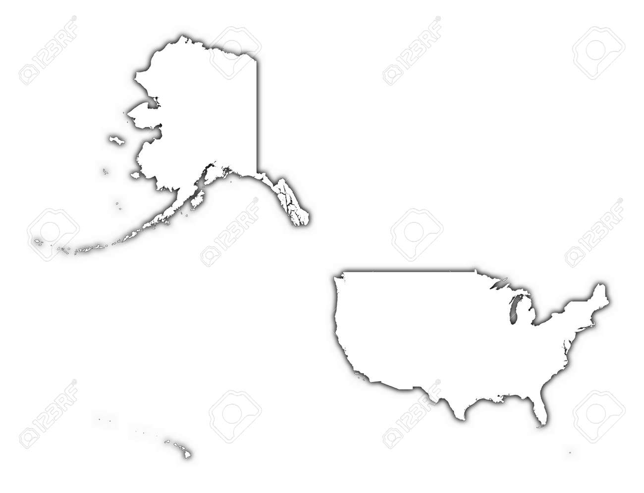 united states outline map with shadow detailed mercator projection stock photo 2190399