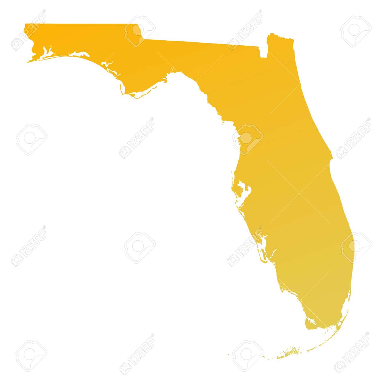 Detailed Florida Map.Orange Gradient Florida Map Usa Detailed Mercator Projection
