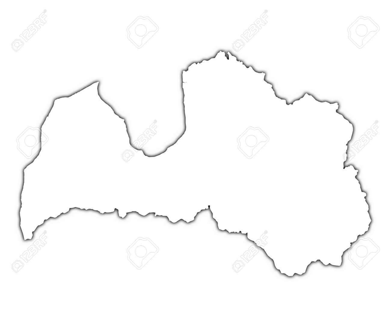 Latvia Outline Map With Shadow Detailed Mercator Projection - Latvia map outline