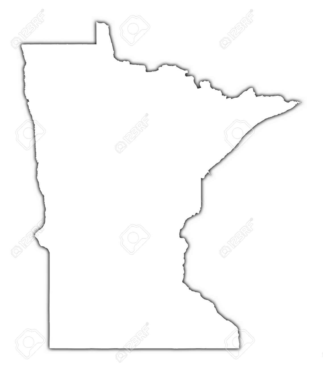 Minnesota USA Outline Map With Shadow Detailed Mercator - Usa blank map