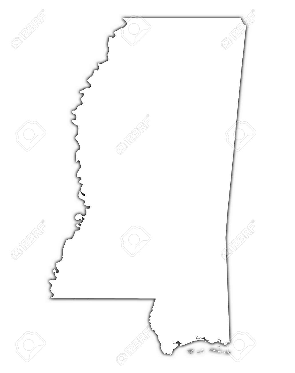 Mississippi USA Outline Map With Shadow Detailed Mercator - Drawing of usa map