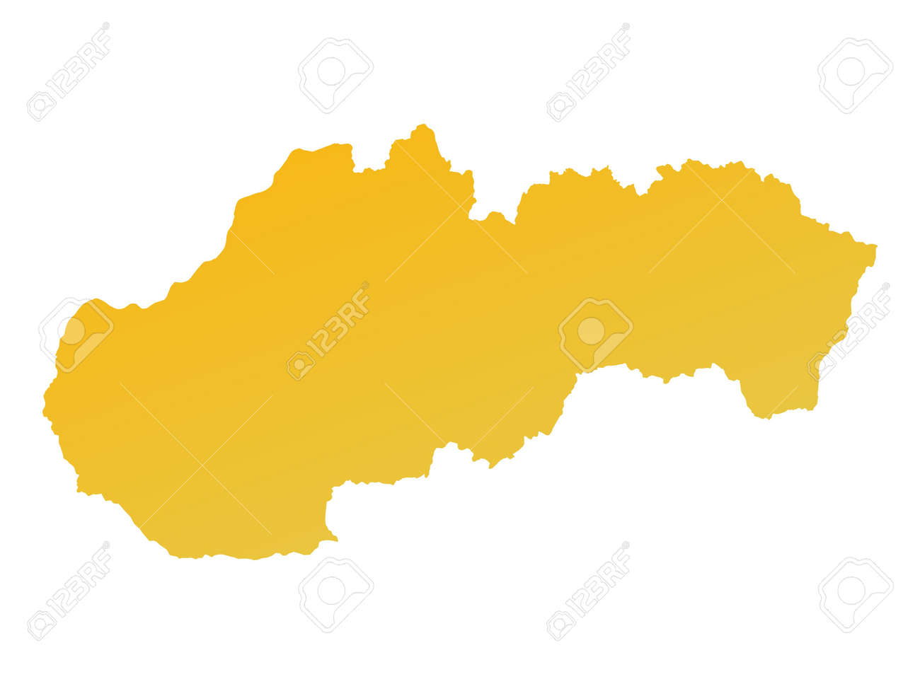 Orange Gradient Slovakia Map. Detailed, Mercator Projection. Stock ...