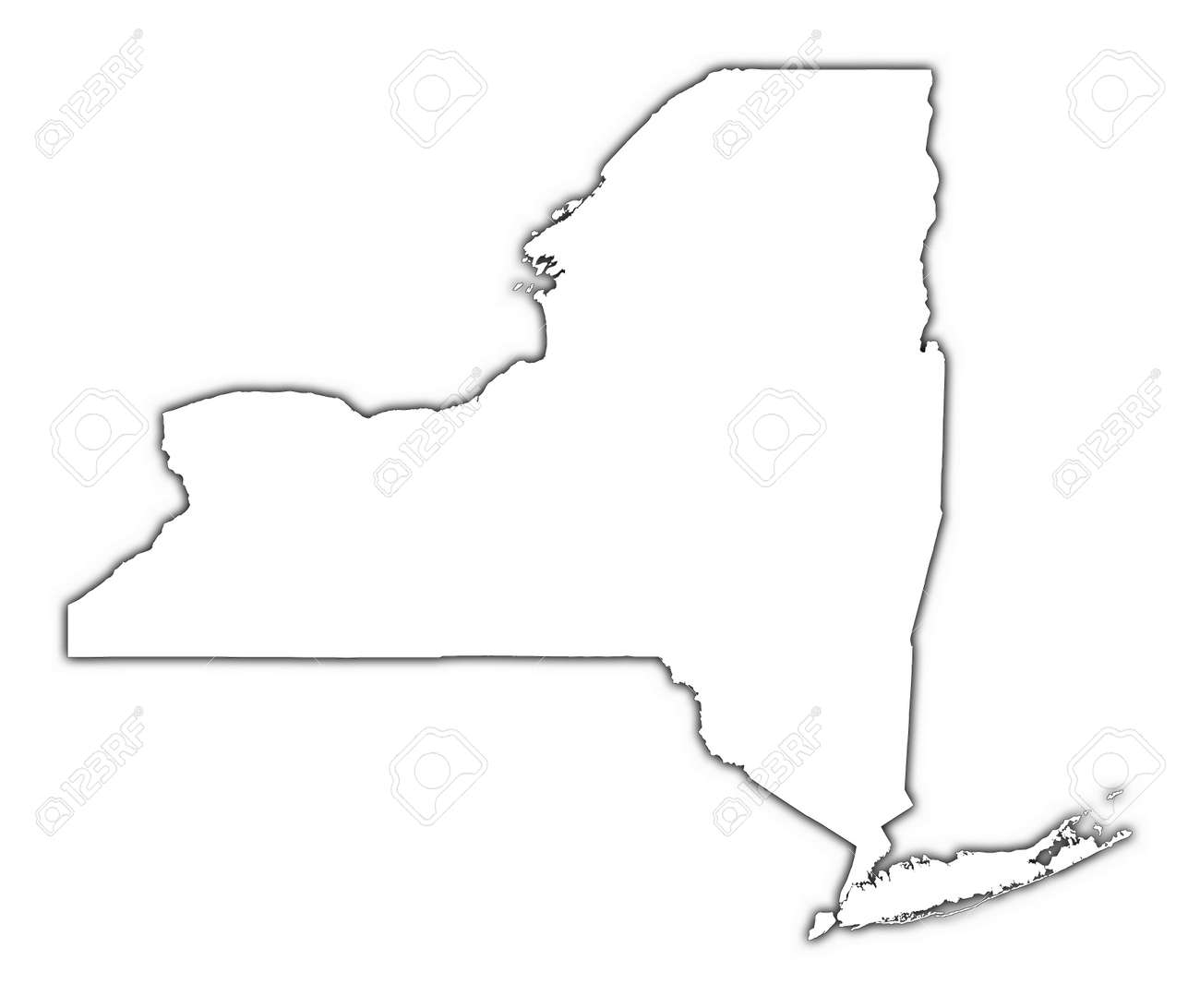New York Usa Outline Map With Shadow Detailed Mercator